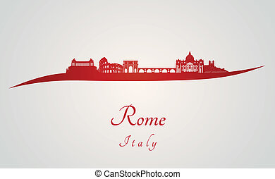 Rome skyline in red and gray background in editable vector...
