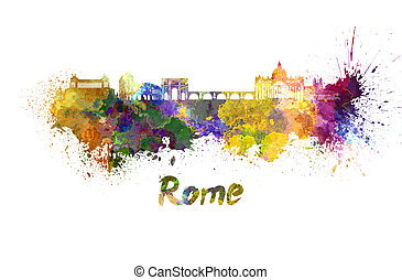 Rome skyline in watercolor splatters with clipping path