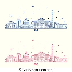 Rome skyline Italy city buildings vector