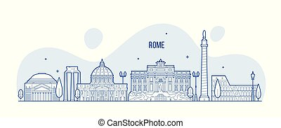 Rome skyline Italy city with buildings vector