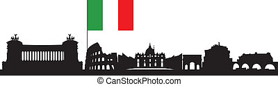 rome skyline - Rome italia skyline in balck and white