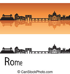 Rome Skyline - Rome skyline in orange background in editable...
