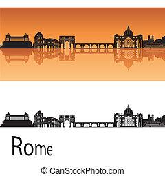 Rome skyline in orange background in editable vector file