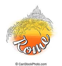 Rome Skyline Travel Logo