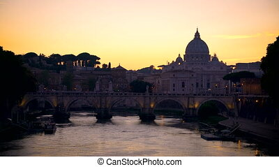 Rome Skyline with Vatican St Peter Basilica and St Angelo Bridge crossing Tiber River in city center of Rome Italy , historical landmarks attraction of the Ancient Rome , famous travel destination.