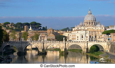 Rome Skyline with Vatican St Peter Basilica and St Angelo Bridge crossing Tiber River in the city center of Rome Italy , historical landmarks of the Ancient Rome and tourist travel destination.