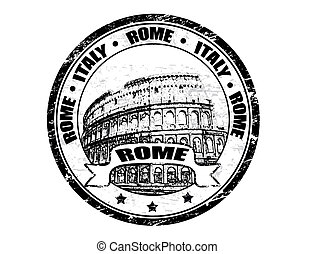 Grunge rubber stamp with colosseum shape and the name of Rome - Italy written inside the stamp