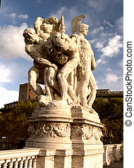 A sculpture on the Ponte Vittorio Emanuele II, Rome, Italy depicting a Roman Centurion guarding what appears to be two slaves.