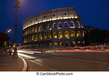 Rome - The Colosseum at night in Rome Italy