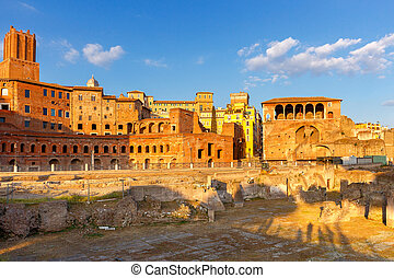 Rome. Trajan's Forum at sunset.