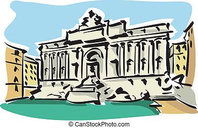 Rome (Trevi Fountain) - Illustration of the Trevi Fountain...