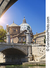 Rome. View of ancient buildings from under the Sant' Angelo Bridge