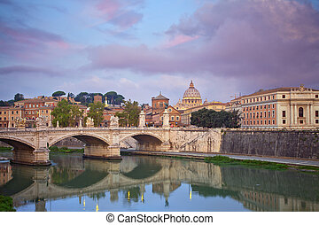 Rome. - View of Vittorio Emanuele Bridge and the St. Peter's...