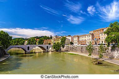 rome, ville, sur, les, rivière tibre