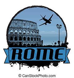Rome vintage travel label or stamp on white, vector illustration