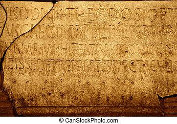 romein, brieven, textuur