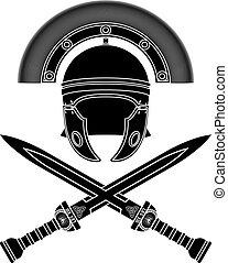 romein, helm, en, zwaarden
