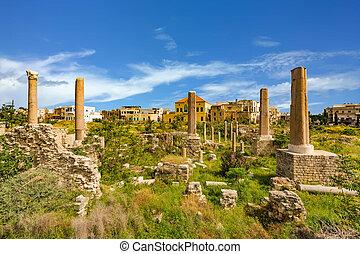romeinen, ruïnes, band, sur, zuiden, libanon