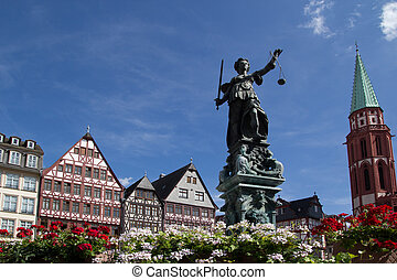 Romer in Frankfurt - Statue of Lady Justice in front of the...