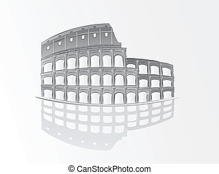 romersk, colosseum, illustration