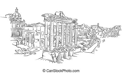 romersk, forntida, forum, rom