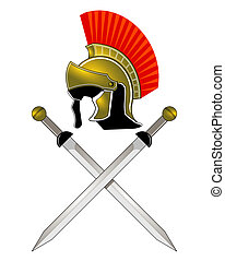 romersk, hjælm, og, sværde