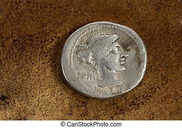 romersk, silver, denarius, mynt, 89, före kristus