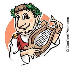 romersk, tecknad film, kejsare