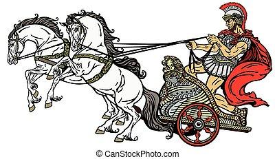 romersk, triumfvagn