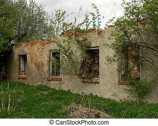 romos, épület, öreg