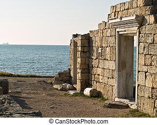 romos, ősi, görög, fal, közül, halánték
