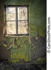 romos, szoba, alatt, elhagyott épület