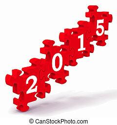 rompecabezas, años, futuro, 2015, calendario, actuación