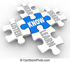 rompecabezas, acción, pedazos, oír, saber, aprender, comprensión, escuchar