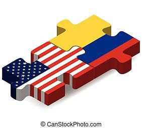 rompecabezas, banderas, colombia, estados unidos de américa