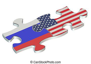 rompecabezas, banderas, rusia, estados unidos de américa