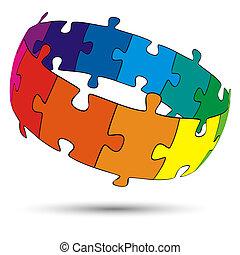 rompecabezas, círculo, coloreado, 3d