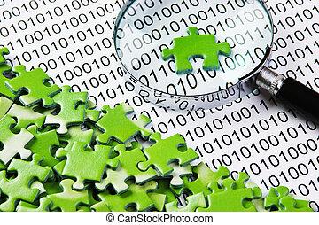 rompecabezas, código binario, lupa