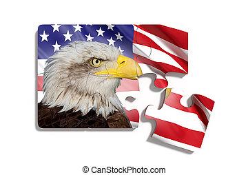 rompecabezas, con, bandera estadounidense, con, águila, blanco, plano de fondo