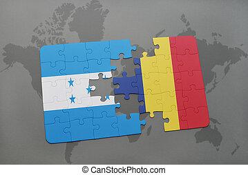 rompecabezas, con, el, bandera nacional, de, honduras, y, chad, en, un, mapa del mundo
