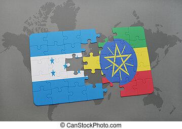 rompecabezas, con, el, bandera nacional, de, honduras, y, etiopía, en, un, mapa del mundo