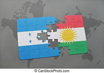 rompecabezas, con, el, bandera nacional, de, honduras, y, kurdistan, en, un, mapa del mundo