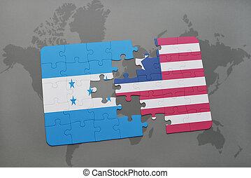 rompecabezas, con, el, bandera nacional, de, honduras, y, liberia, en, un, mapa del mundo