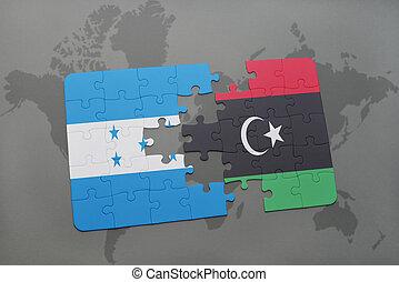 rompecabezas, con, el, bandera nacional, de, honduras, y, libia, en, un, mapa del mundo