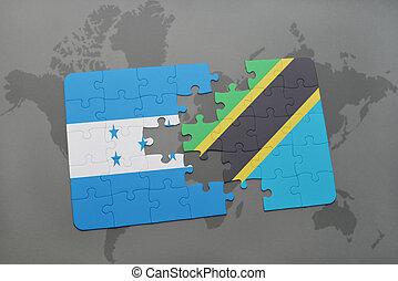 rompecabezas, con, el, bandera nacional, de, honduras, y, tanzania, en, un, mapa del mundo