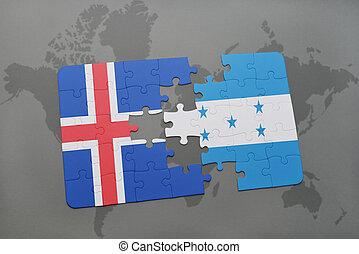 rompecabezas, con, el, bandera nacional, de, islandia, y, honduras, en, un, mapa del mundo