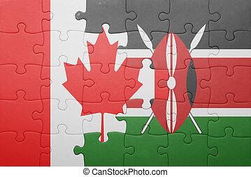 rompecabezas, con, el, bandera nacional, de, kenia, y, canada.
