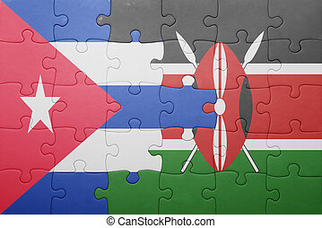 rompecabezas, con, el, bandera nacional, de, kenia, y, cuba.