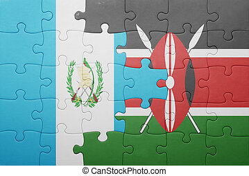 rompecabezas, con, el, bandera nacional, de, kenia, y, guatemala.