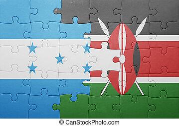 rompecabezas, con, el, bandera nacional, de, kenia, y, honduras.